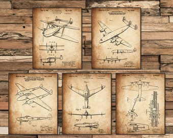 Vintage patent art world war II Airplane poster sets 5 in 1 Airplane Nursery Plane Wall Art classic aircraft/ airplane art
