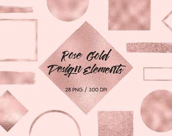Rose gold design elements, rose gold brush strokes, foil, glitter, frames, circles, squares, rose gold banners, download