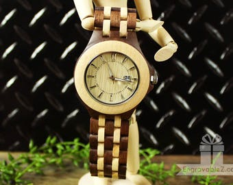 Custom Engraved Wooden Watch Made With Maple & Walnut