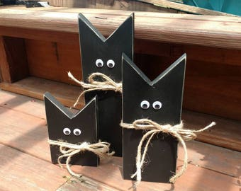 black cats primitive black cat halloween decor wood cats halloween decorations - Halloween Cat Decorations