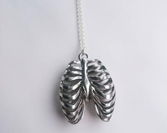Silver Tone Ribcage Necklace