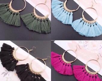 MIA; boho tassel hoop earrings