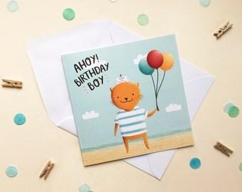Ahoy Birthday Boy - Birthday  Card - Happy Birthday - Children's Birthday Card - Boy's Birthday Card - Pirate Card - Birthday Boy
