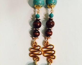 Handmade wood bead dangle drop fish hook  earrings jewelry accessory