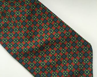 Vintage PLS Red, Green, Yellow and Blue Geometric Pattern Polyester Cravat