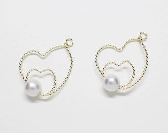 P0729/Anti-Tarnished Gold Plating Over Brass + Acryl Pearl /Wired Heart Pearl Pendant/20.5x18mm,6mm Pearl/2pcs