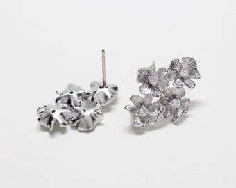 E0232/Anti-Tarnished Matte Rhodium Plating Over Brass+Sterling Silver 925 Post/4 Flowers  Stud Earrings/14 x22mm/2pcs