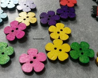 (BTB01) Set of wooden flower shape buttons dyed multicolor 20mm by 6