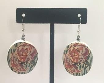 Floral Wooden Bead Earrings