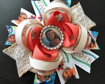 Moana hair bow-large moana hair bow-over the top moana hair bow-boutique grosgrain moana hair bow-moana party favor-moana birtthday hair bow