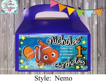 Finding Nemo  BIRTHDAY Goody Box Favors or LABELS Personalized with your childs name etc.