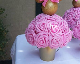 Pink and gold centerpieces, minnie theme centerpieces