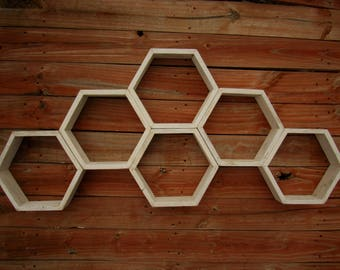 Honeycomb shelves, Hexagon Shelves, Distressed Shelves, Geometric Shelves, Nursery Shelves, Hexagon shelf, Floating Shelf, Floating Shelves