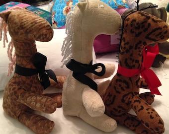 Repurposed fabric stuffed giraffes cream dark brown spotted brown vintage chenille mane grosgrain ribbon 12 inches huggable repurposed