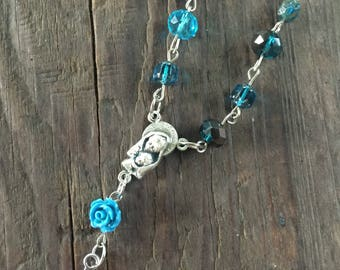Teal car rosary