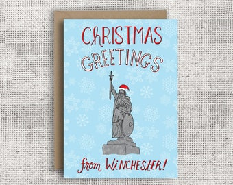 Christmas Greetings from Winchester! | Funny Christmas Card, Hampshire, King Alfred, Winchester, Hampshire, Winchester Cathedral, Christmas
