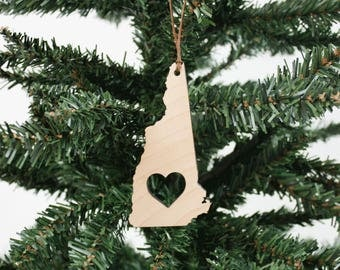 New Hampshire Ornament | Wood Ornament | Holiday Decor | Holiday Ornament | Christmas Ornament | Home Decor | New Hampshire | Made in Maine