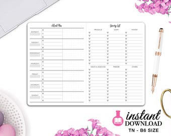 Printable TN Inserts - B6 Size / Foxy Fix #5 - Meal Planner and Grocery List - Travelers Notebook