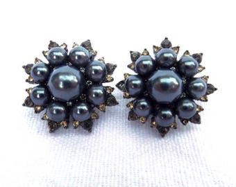 Blue Pearl Clip On Earrings, Costume Jewellery, Circa 1950, Faux Diamond Citrine Stones, Black Tone Metal, Excellent Condition
