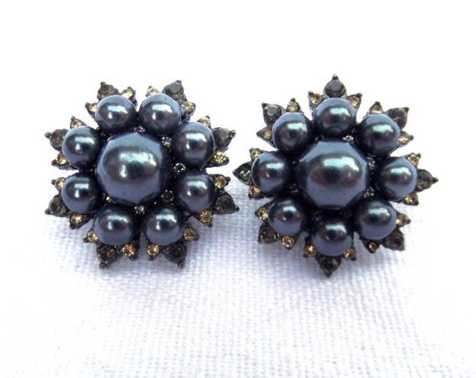 FREE SHIPPING Blue Pearl Clip On Earrings, Costume Jewellery, Circa 1950, Faux Diamond Citrine Stones, Black Tone Metal, Excellent Condition