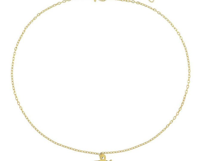 Personalized Gothic Initial Anklet Solid Gold or Silver - Celebrity Style Gothic Bracelet Personalized Sterling Silver or Gold Filled