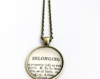 BELONGING Vintage Dictionary Word Pendant