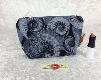 Ammonite Zip Case Bag Pouch fabric Handmade in England