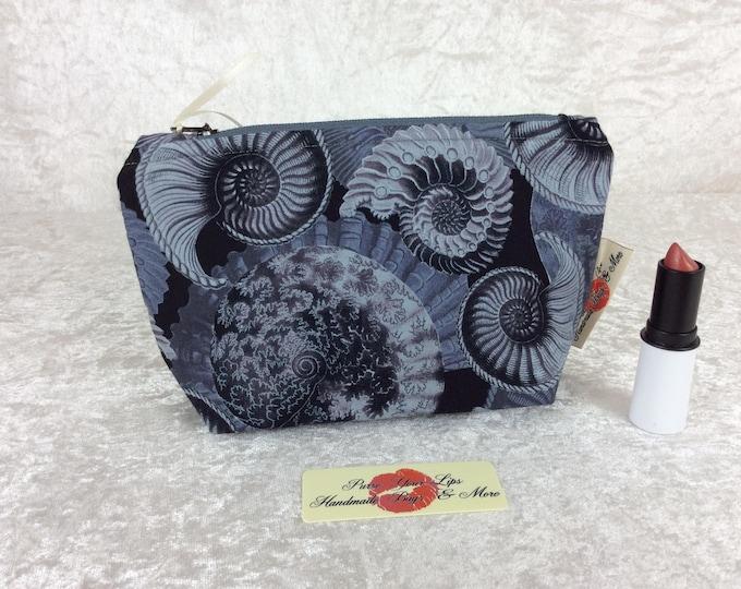 Ammonite Zip Case Bag Pouch fabric Handmade in England