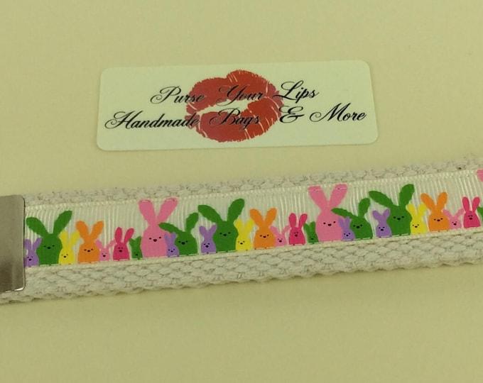 Bunnies Bunny Rabbits  webbing key fob wristlet key ring lanyard wedding favour handmade in England