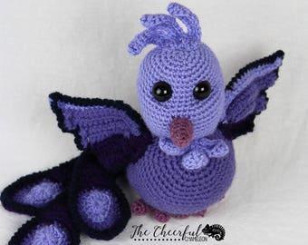 Handmade - Dark Phoenix - Amigurumi - Crochet Phoenix - Fantasy Lover Gift - Crochet Bird - Purple Phoenix - Fire Bird