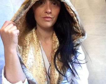 Luxury reversible Hood with gold satin flower and faun deluxe faux fur, festival hood, fairy hood, gold hood