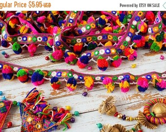 10% OFF Colourful Pom Pom Trim, Embroidered Trim, Belt Trim, Tassel Trim - 2 yards