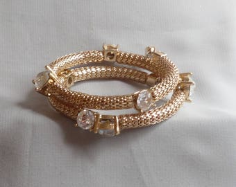 Vintage Clear Crystal Rhinestone Gold Plated Mesh Memory Wire Bracelet