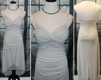 90's Vintage Silver Sparkle Bias Cut Evening Gown/Dress  By Trixxi *FREE SHIPPING*