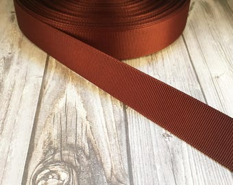 "Solid cappuccino Grosgrain - Brown ribbon - 7/8"" Grosgrain ribbon - 5 yards - craft ribbon - DIY hair bow - DIY headband - Wedding ribbon"