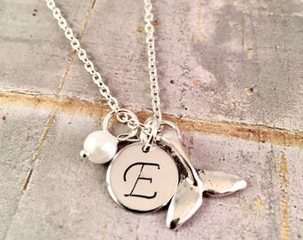 Personalized whale necklace, pearl initial necklace, initial charm necklace, Bridesmaid necklace, Beach Wedding, Whale Tail Charm, For her