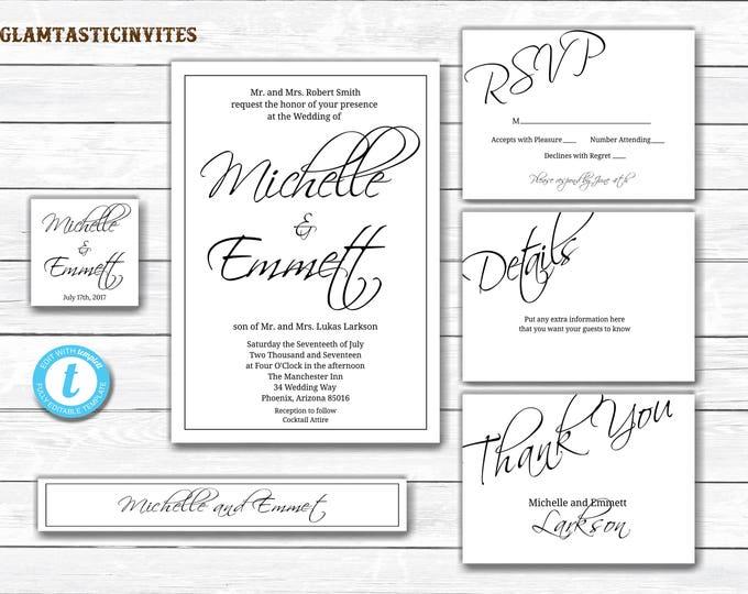 Wedding Invitation Set, Wedding Invitation Template, YOU EDIT, Printable, Wedding Suite, Wedding Template, DIY Invitation, Instant Download
