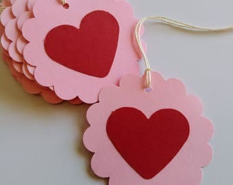 Heart tags, Heart gift tags, Heart favor tags, Valentine favor tags, Set of 12