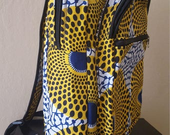 African Print canvas backpack - Extra large