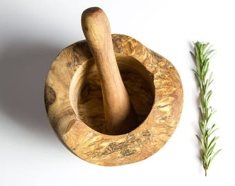 Traditional Olive Wood Pestle and Mortar - two sizes available