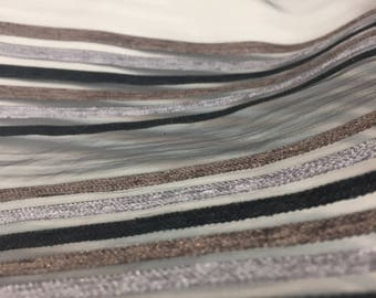 120' inch Black Silver Brown Velvet Stripes sheer Fabric by the yard Draperies