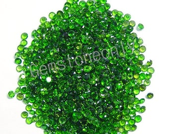Natural Chrome Diopside 1.5mm Faceted Cut Round - Calibrated Size - Green Color - Semi Precious - Loose Gemstone - Wholesale Lot