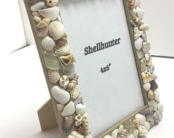 Seashell picture frame, beach decor, beach bathroom decor, picture frames, beach house decor, bedroom decor, sea glass, brown decor