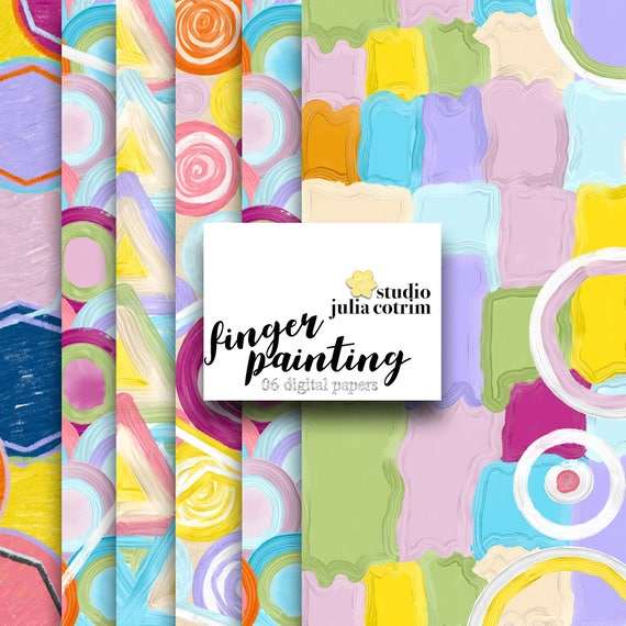 Finger Painting Digital Paper Pack | Scrapbook Paper | Printable Background | 06 JPG, 300dpi files.