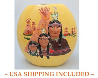 Large Ceramic Pillow Vase Hand Painted American Indian Decor