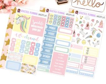 Unicorn Life Personal Size Tn Size Weekly Kit - Planner Stickers, Filofax, Kikki K, Websters Pages, Fashion, Glitter.