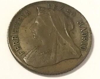 1901 ferreteria pez 20 madrid queen victoria sovereign coin