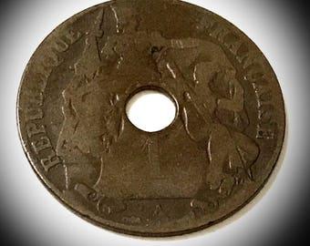 1914 Indo-Chine Francaise 1 cent coin Republique Francaise