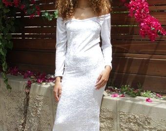 White Crushed Velvet Body Con Maxi Dress
