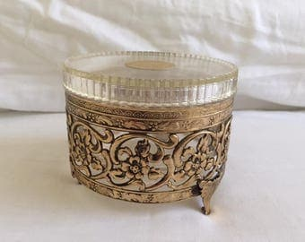 Vintage Pearls and Mink Perfume Powder Canister